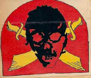 To give his Raiders an identity, Carlson designed a calling card with death's black head on crossed yellow scimitars on a scarlet red background.